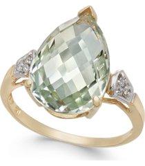 mint quartz (5 ct. t.w.) & diamond accent statement ring in 14k gold