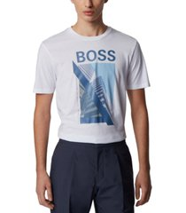 boss men's tessler white t-shirt