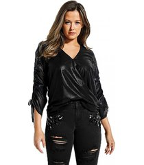 camisa jewel foil chiffon shirred slv top negro guess