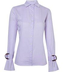 camisa dudalina manga longa fio tinto maquinetado punho fivela feminina (roxo claro, 42)