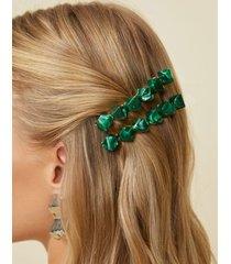 amaro feminino par presilha de cabelo resina, verde escuro