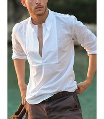 incerun corte de pecho blanco con cuello en v para hombre camisa