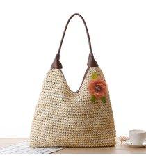 spalla da donna in paglia borsa fiore pastorale a spalla borsa tote solida borsa