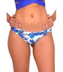 bikini calzón con drapeado trasero estampado azul samia
