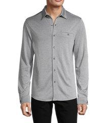 saks fifth avenue men's soft knit button-down shirt - caviar - size s