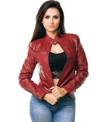 jaqueta parra couros feminina gp vermelho