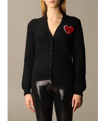 love moschino cardigan heart patch ribbed cardigan
