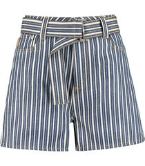ganni high-rise cut-off denim shorts