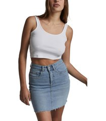 cotton on women's classic stretch denim mini skirt