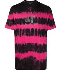 diesel reflective logo tie-dye t-shirt - black