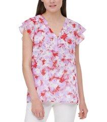 calvin klein floral-print flutter-sleeve blouse