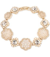 marchesa gold-tone crystal & mother-of-pearl lace flex bracelet