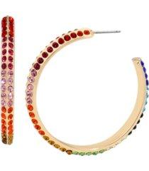 "betsey johnson rainbow stone hoop earrings in gold-tone metal, 1.75"""