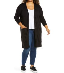halogen(r) long cardigan, size 3x in black at nordstrom
