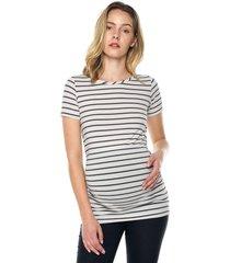 camiseta maternidad mng corta blanco raya azul moms closet,