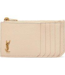 logo zipped leather card case