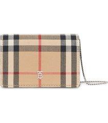 burberry vintage check detachable strap wallet - multicolour