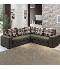 sofá de canto nigro 4 lugares marrom/cacau - viero móveis