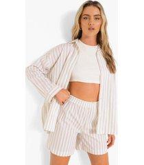 oversized gestreepte blouse en shorts, stone
