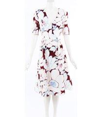 carolina herrera red white floral print silk midi dress red/white/floral print sz: xl
