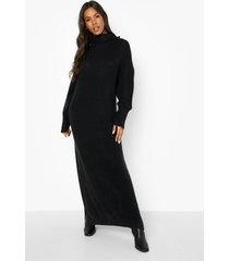 gebreide midaxi jurk met waterval hals, black