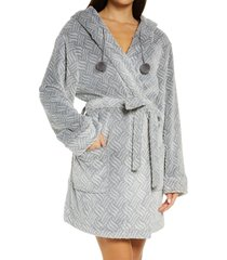 women's honeydew intimates winter night hooded fleece short robe, size small/medium - grey