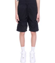 c.p. company shorts in black synthetic fibers