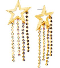 steve madden gold-tone multicolor crystal cutout star statement earrings
