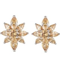 a & m silver-tone champagne flower cluster earrings