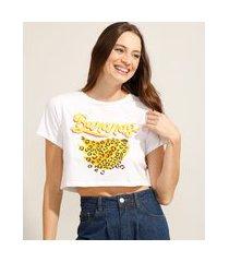 """camiseta cropped de algodão bananas"""" animal print onça manga curta decote redondo off white"""""""