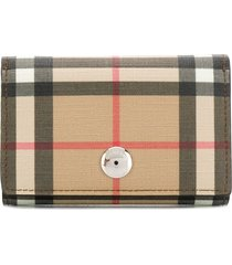 burberry small vintage check e-canvas folding wallet - brown