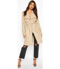 nepwollen jas met brede kraag en ceintuur, steenrood