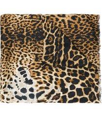 saint laurent leopard scarf - black