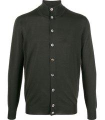 dell'oglio funnel neck knit cardigan - green