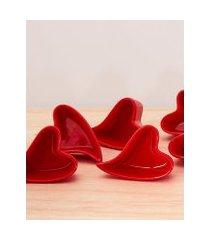 amaro feminino objetos de coração pote em formato de coração 90ml - 6 un, design vermelho