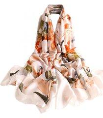pashmina echarpe lenço artestore 180x90 floral tons terrosos