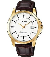 reloj analógico hombre casio mtp-v004gl7a - marrón con blanco