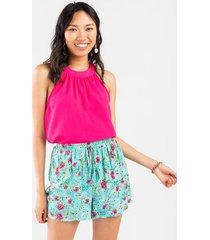 amelia floral drawstring shorts - turquoise