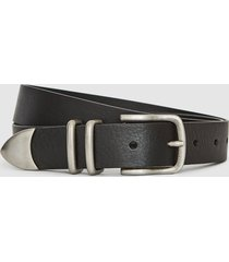reiss james - leather western belt in black, mens, size 36
