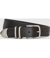 reiss james - leather western belt in black, mens, size 36