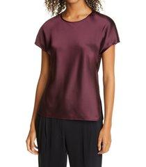 women's club monaco satin t-shirt, size x-small - burgundy