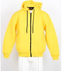 diesel designer sweatshirts, lemon yellow front zip men's hoodie
