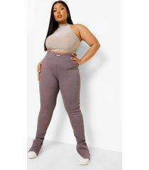 plus geribbelde premium leggings met split