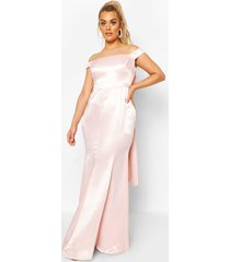 plus occasion satin bow back maxi dress, soft pink