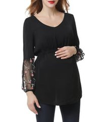 women's kimi and kai gisel embroidered maternity top, size large - black
