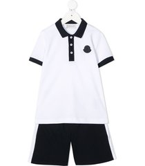 moncler enfant contrast-trim cotton short set - white