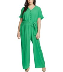 cece plus size belted ruffled-cuff jumpsuit