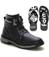 kit bota coturno masculino casual conforto leve ma + chinelo - masculino