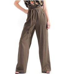 pantalón para mujer en lino, tiro alto, bota recta color-verde-talla-10