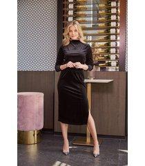 freebird nova midi dress long sleeve velvet-lurex